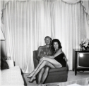 Jacqueline Susann and her husband Irving Mansfield, Beverly Hills, Ca 1969 later sgelatin silver print of Neil Selkirk 20 x 16 inch / 50.8 x 40.6 cm © Estate of Diane Arbus