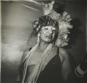 Transvestite at a drag ball, N.Y.C., 1970 later gelatin silver print of Neil Selkirk 20 x 16 inch / 50.8 x 40.6 cm © Estate of Diane Arbus